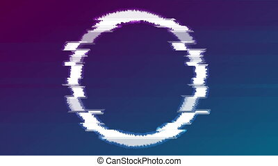 Abstract glitch effect luminous circle video animation -...