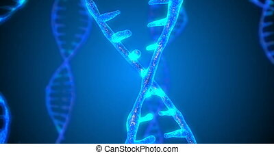 Abstract glittering DNA double helix with depth of field. Animation of DNA construction from debrises. Science animation. Genom futuristic footage. Conceptual design of genetics information. 4k