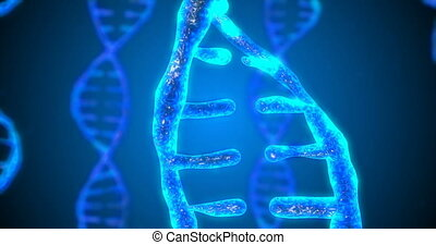 Abstract glittering DNA double helix with depth of field. Animation of DNA construction from debrises. Science animation. Conceptual design of genetics information. 4k, alpha channel
