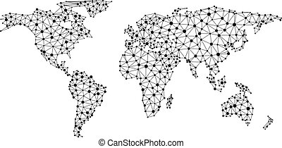 Abstract global communications world map. - Abstract black...