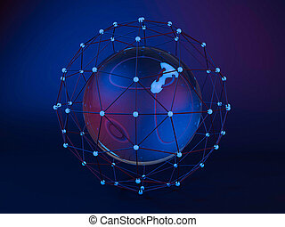 Abstract global network. 3D