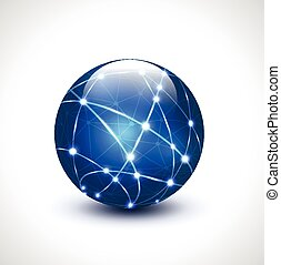 Abstract global network for technology and social network isolated on white background, vector illustration