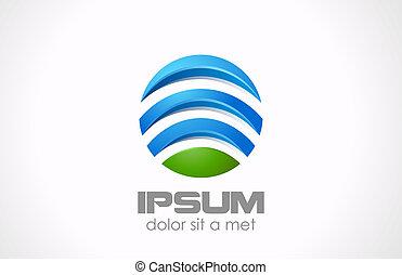 abstract., globalny, media, logo, koło, technologia, icon.