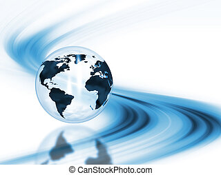 Abstract globe - 3D render of a globe on an abstract...