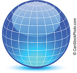 Blue glossy globe. Vector illustration. .