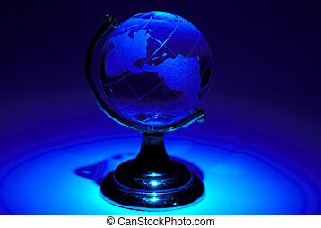 Abstract Globe - Glass Globe WIth Colored Gel Lighting