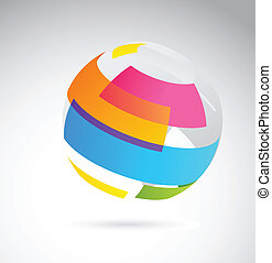 Abstract globe icon made from color riibbons