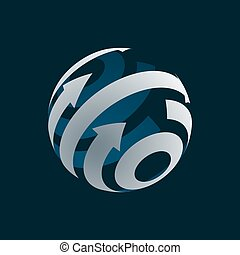 Abstract Globe Logo Element. Rotating Arrows.