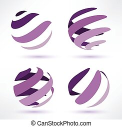 abstract globe set of 3d icons