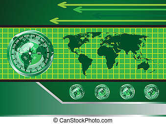Abstract globe vector and compass background