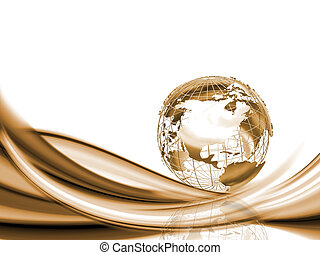 Wireframe globe on abstract background