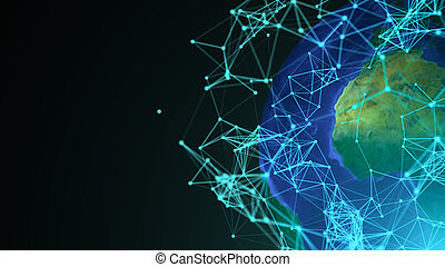 Abstract globe with digital connections. Communication concept