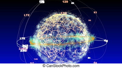 abstract globe with particles and plexus structure. Digital technology planet with continent forming. Triangulated structure. Glows and particles. alpha channel