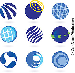 Abstract globes and spheres icons - Set of vector modern...