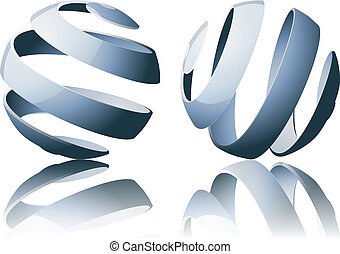 Abstract Globes - Set of abstract sprial sphere designs with...