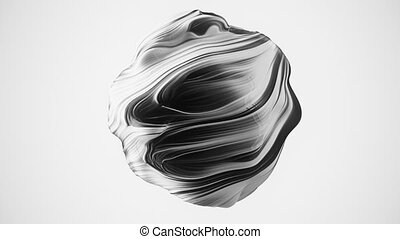 Abstract globular sphere with swirls. Seamless loop.