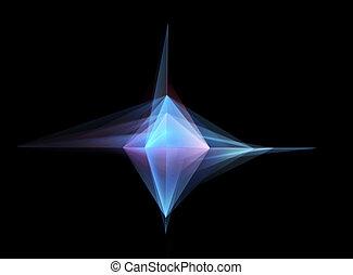 abstract, gloeiend, geometrische vorm, op, zwarte achtergrond