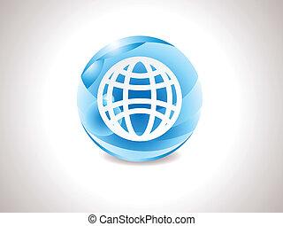 abstract glossy blue globe icon