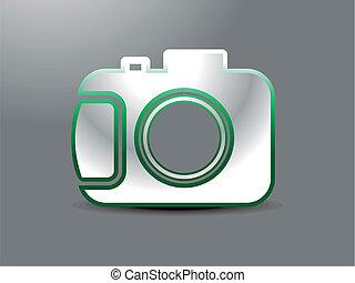 abstract glossy camera icon vector