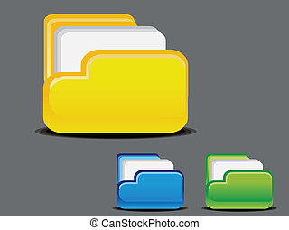 abstract glossy folder icon vector
