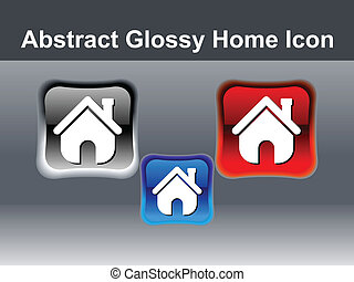 abstract glossy home icon button