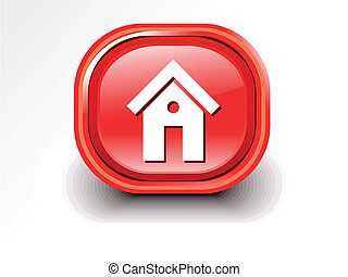 abstract glossy home icon vector