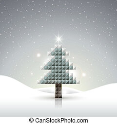 abstract glossy mosaic Christmas tree