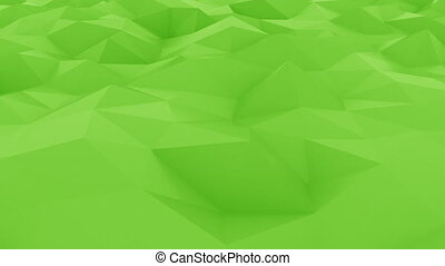 Abstract glossy polygonal green surface. Loopable motion background