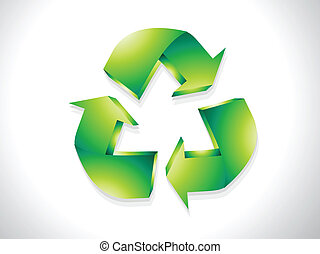 abstract glossy recycle icon vector