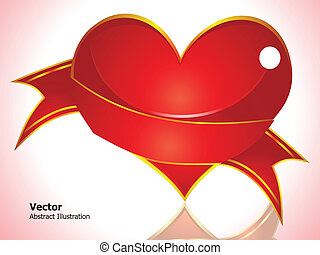 abstract glossy red heart with pink