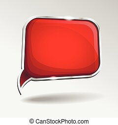 Abstract glossy red   speech bubble. Vector  abstract background.