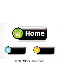 abstract glossy silver home button