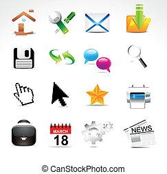 abstract glossy web icon set vector