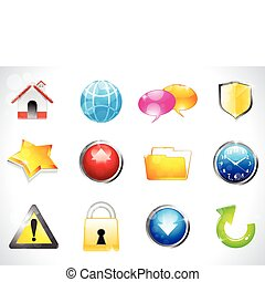 abstract glossy web icons