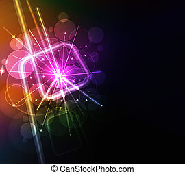 Abstract glowing background with digital symbols, vector illustration
