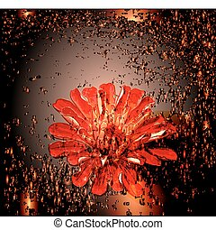 abstract glowing background with red flower.