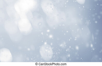 Abstract Glowing blurred lights with snowflakes. Christmas background