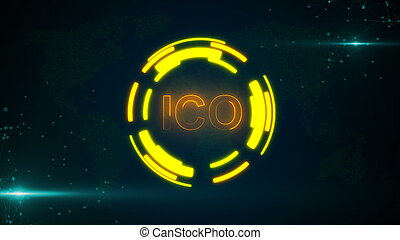 Abstract glowing digital currency button ICO with connecting dots and flares