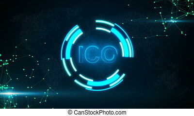 Abstract glowing digital currency button ICO with connecting...
