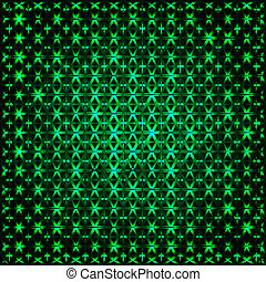 Abstract glowing green 3D fractal