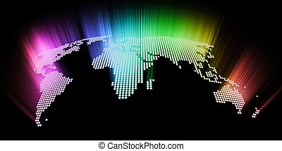 abstract glowing hi-tech world map