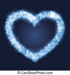 Abstract glowing light heart background