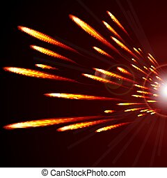 Abstract glowing lines of fire  on a dark background.