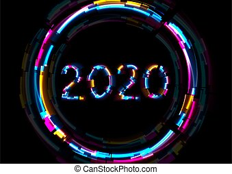 Abstract glowing neon 2020 New Year background with glitch effect