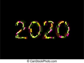 Abstract glowing neon 2020 New Year with glitch effect vector background