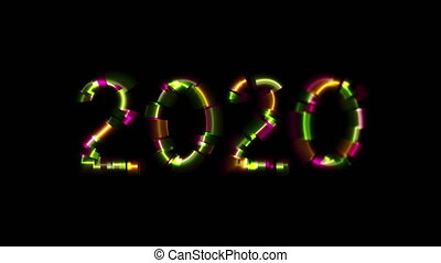 Abstract glowing neon 2020 New Year with glitch effect video...