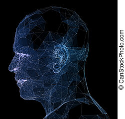 Abstract glowing polygonal head background with neurons. Artificial intelligence and network concept. 3D Rendering