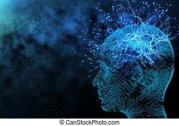 Artificial intelligence and network concept - Abstract...