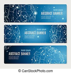 Abstract Glowing Sphere Banner Horizontal. Vector