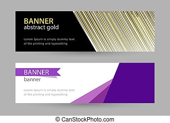 Abstract gold and violet banner with lines on white background.
